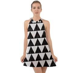 TRIANGLE2 BLACK MARBLE & WHITE LINEN Halter Tie Back Chiffon Dress