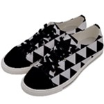TRIANGLE2 BLACK MARBLE & WHITE LINEN Men s Low Top Canvas Sneakers