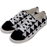 TRIANGLE2 BLACK MARBLE & WHITE LINEN Women s Low Top Canvas Sneakers