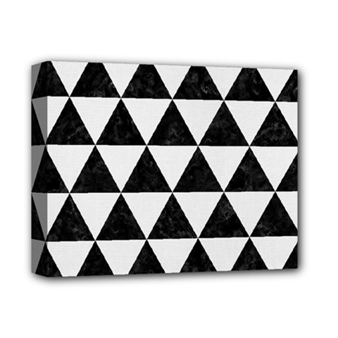Triangle3 Black Marble & White Linen Deluxe Canvas 14  X 11  by trendistuff