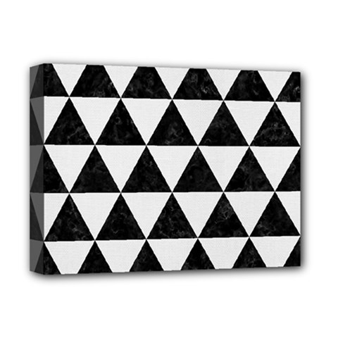 Triangle3 Black Marble & White Linen Deluxe Canvas 16  X 12   by trendistuff