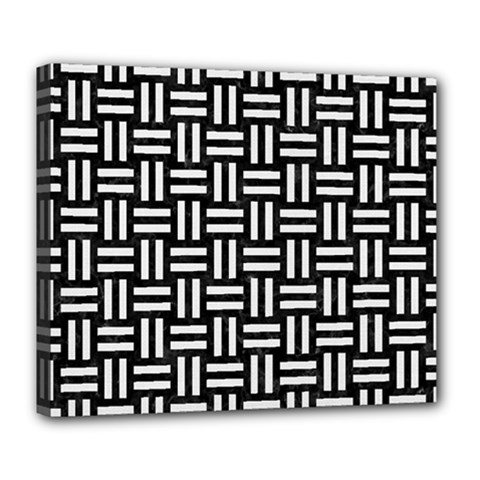 Woven1 Black Marble & White Linen (r) Deluxe Canvas 24  X 20   by trendistuff