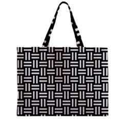 Woven1 Black Marble & White Linen (r) Zipper Mini Tote Bag by trendistuff