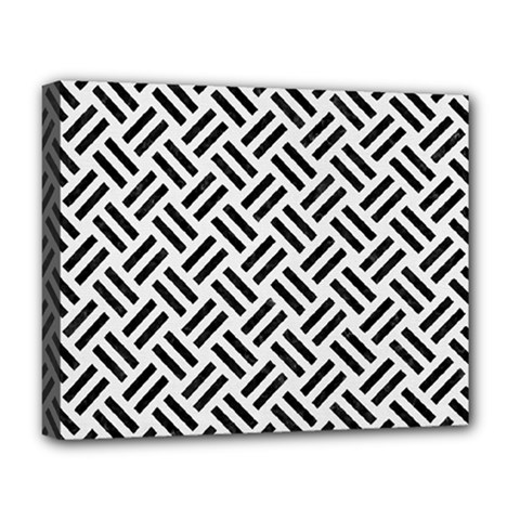 Woven2 Black Marble & White Linen Deluxe Canvas 20  X 16   by trendistuff