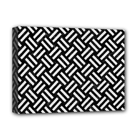 Woven2 Black Marble & White Linen (r) Deluxe Canvas 16  X 12   by trendistuff