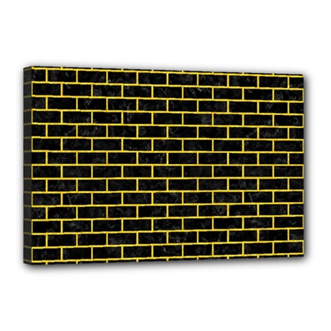 Brick1 Black Marble & Yellow Colored Pencil (r) Canvas 18  X 12  by trendistuff
