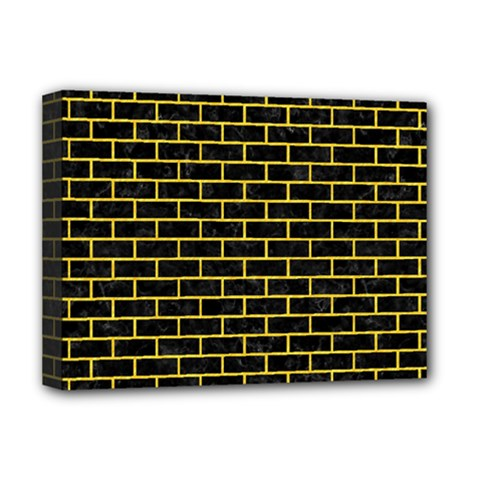 Brick1 Black Marble & Yellow Colored Pencil (r) Deluxe Canvas 16  X 12   by trendistuff