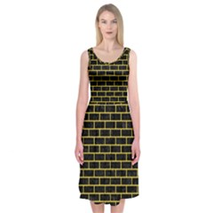 Brick1 Black Marble & Yellow Colored Pencil (r) Midi Sleeveless Dress by trendistuff