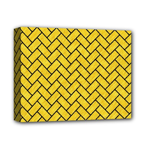 Brick2 Black Marble & Yellow Colored Pencil Deluxe Canvas 14  X 11  by trendistuff