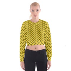 Brick2 Black Marble & Yellow Colored Pencil Cropped Sweatshirt by trendistuff
