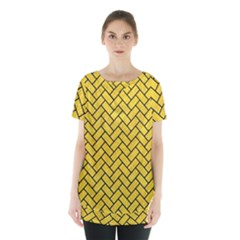 Brick2 Black Marble & Yellow Colored Pencil Skirt Hem Sports Top