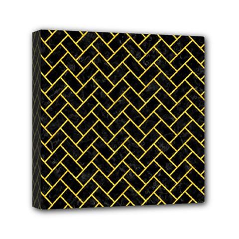 Brick2 Black Marble & Yellow Colored Pencil (r) Mini Canvas 6  X 6  by trendistuff