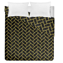Brick2 Black Marble & Yellow Colored Pencil (r) Duvet Cover Double Side (queen Size) by trendistuff