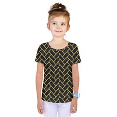 Brick2 Black Marble & Yellow Colored Pencil (r) Kids  One Piece Tee by trendistuff