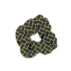 Brick2 Black Marble & Yellow Colored Pencil (r) Velvet Scrunchie by trendistuff