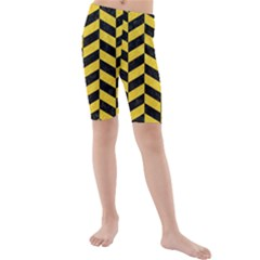 Chevron1 Black Marble & Yellow Colored Pencil Kids  Mid Length Swim Shorts by trendistuff