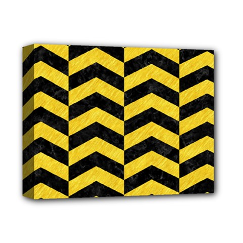 Chevron2 Black Marble & Yellow Colored Pencil Deluxe Canvas 14  X 11  by trendistuff