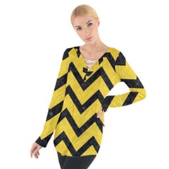 Chevron9 Black Marble & Yellow Colored Pencil Tie Up Tee