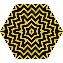 Chevron9 Black Marble & Yellow Colored Pencil (r) Mini Folding Umbrellas by trendistuff