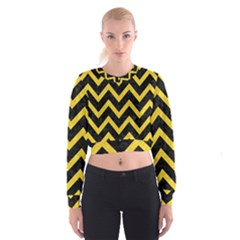 Chevron9 Black Marble & Yellow Colored Pencil (r) Cropped Sweatshirt