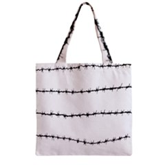 Barbed Wire Black Zipper Grocery Tote Bag by Mariart