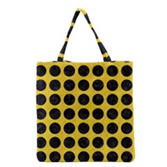 Circles1 Black Marble & Yellow Colored Pencil Grocery Tote Bag by trendistuff