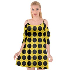Circles1 Black Marble & Yellow Colored Pencil Cutout Spaghetti Strap Chiffon Dress