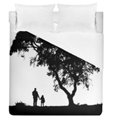 Black Father Daughter Natural Hill Duvet Cover (queen Size) by Mariart