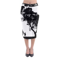 Black Father Daughter Natural Hill Midi Pencil Skirt by Mariart