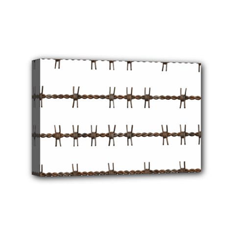 Barbed Wire Brown Mini Canvas 6  X 4  by Mariart