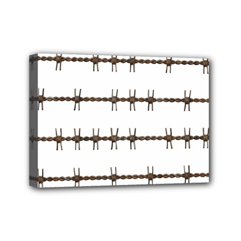 Barbed Wire Brown Mini Canvas 7  X 5  by Mariart