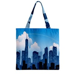 City Building Blue Sky Zipper Grocery Tote Bag