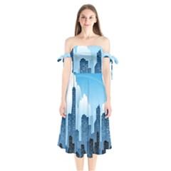 City Building Blue Sky Shoulder Tie Bardot Midi Dress