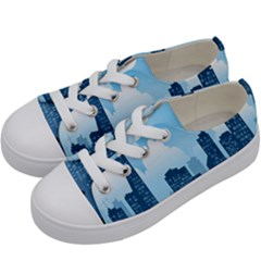 City Building Blue Sky Kids  Low Top Canvas Sneakers by Mariart