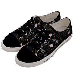 Espresso Cofee Glass Line Chevron Men s Low Top Canvas Sneakers by Mariart