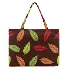Autumn Leaves Pattern Zipper Medium Tote Bag by Mariart