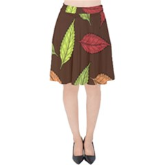 Autumn Leaves Pattern Velvet High Waist Skirt by Mariart