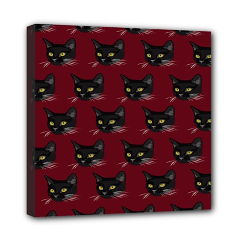 Face Cat Animals Red Mini Canvas 8  X 8  by Mariart