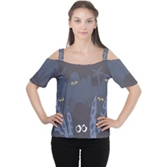Ghost Halloween Eye Night Sinister Cutout Shoulder Tee by Mariart