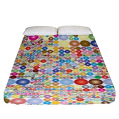Circle Rainbow Polka Dots Fitted Sheet (king Size) by Mariart