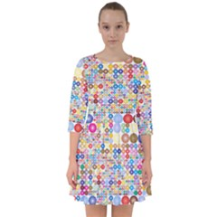 Circle Rainbow Polka Dots Smock Dress