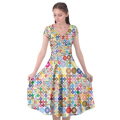 Circle Rainbow Polka Dots Cap Sleeve Wrap Front Dress