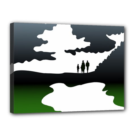 Landscape Silhouette Clipart Kid Abstract Family Natural Green White Canvas 16  X 12  by Mariart