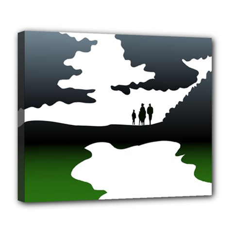 Landscape Silhouette Clipart Kid Abstract Family Natural Green White Deluxe Canvas 24  X 20   by Mariart