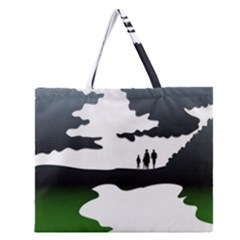 Landscape Silhouette Clipart Kid Abstract Family Natural Green White Zipper Large Tote Bag by Mariart