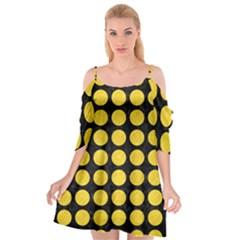 Circles1 Black Marble & Yellow Colored Pencil (r) Cutout Spaghetti Strap Chiffon Dress by trendistuff