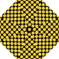 Circles2 Black Marble & Yellow Colored Pencil (r) Folding Umbrellas by trendistuff