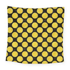 Circles2 Black Marble & Yellow Colored Pencil (r) Square Tapestry (large) by trendistuff