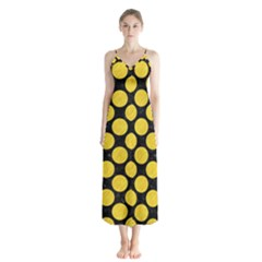 Circles2 Black Marble & Yellow Colored Pencil (r) Button Up Chiffon Maxi Dress