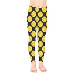 Circles2 Black Marble & Yellow Colored Pencil (r) Kids  Legging by trendistuff